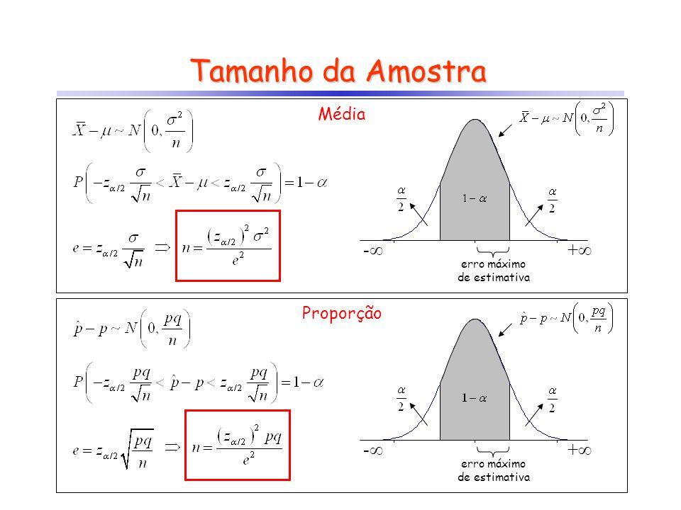 Tamanho da Amostra - + erro máximo de estimativa - + erro máximo de estimativa Média Proporção