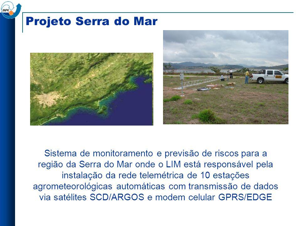 Projeto Serra do Mar Sistema de monitoramento e previsão de riscos para a região da Serra do Mar onde o LIM está responsável pela instalação da rede t