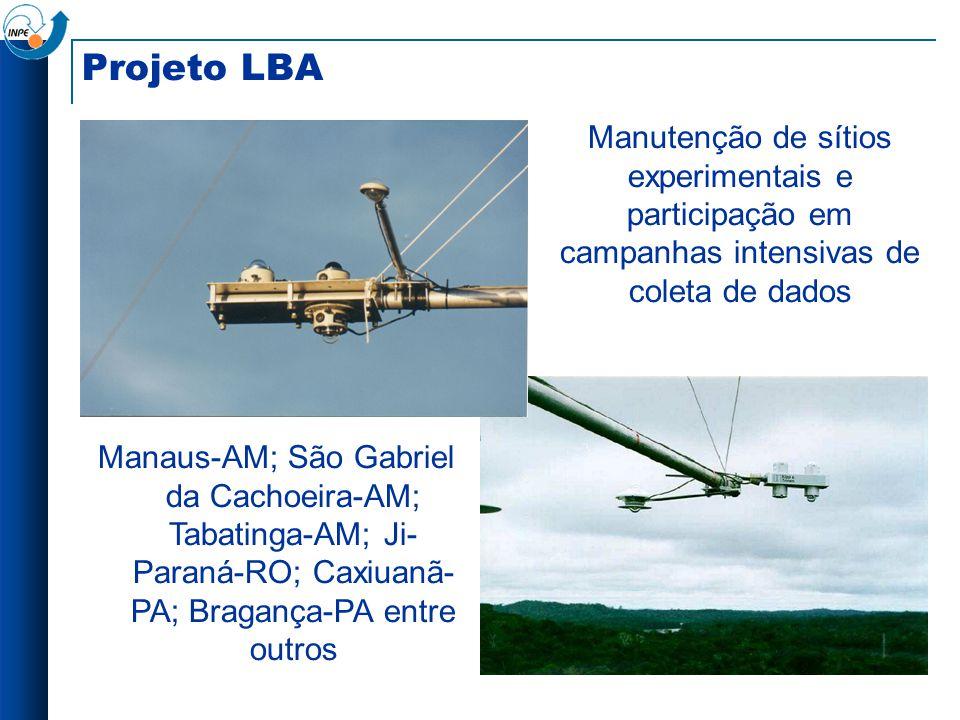 Projeto LBA Manutenção de sítios experimentais e participação em campanhas intensivas de coleta de dados Manaus-AM; São Gabriel da Cachoeira-AM; Tabat