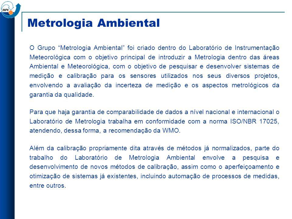 Metrologia Ambiental O Grupo Metrologia Ambiental foi criado dentro do Laboratório de Instrumentação Meteorológica com o objetivo principal de introdu