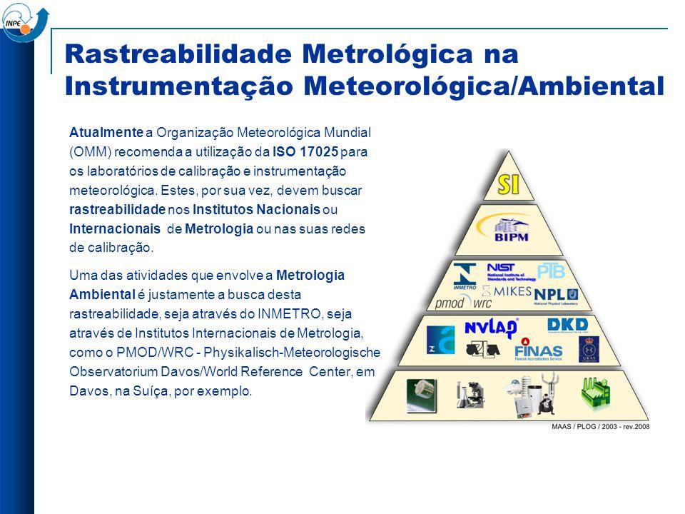 Rastreabilidade Metrológica na Instrumentação Meteorológica/Ambiental Atualmente a Organização Meteorológica Mundial (OMM) recomenda a utilização da I