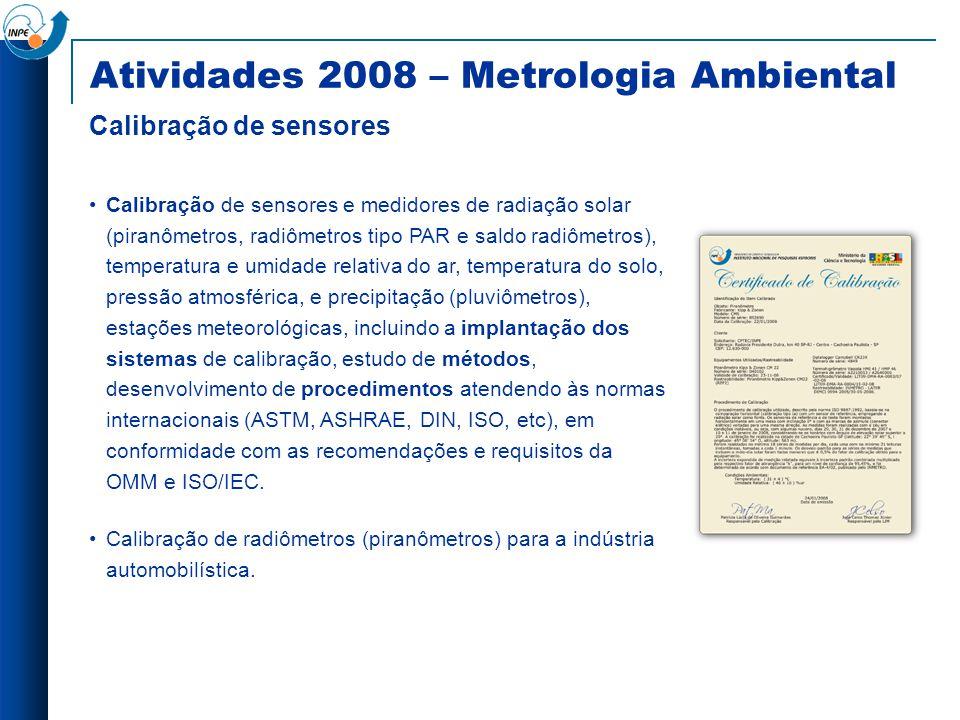 Atividades 2008 – Metrologia Ambiental Calibração de sensores Calibração de sensores e medidores de radiação solar (piranômetros, radiômetros tipo PAR