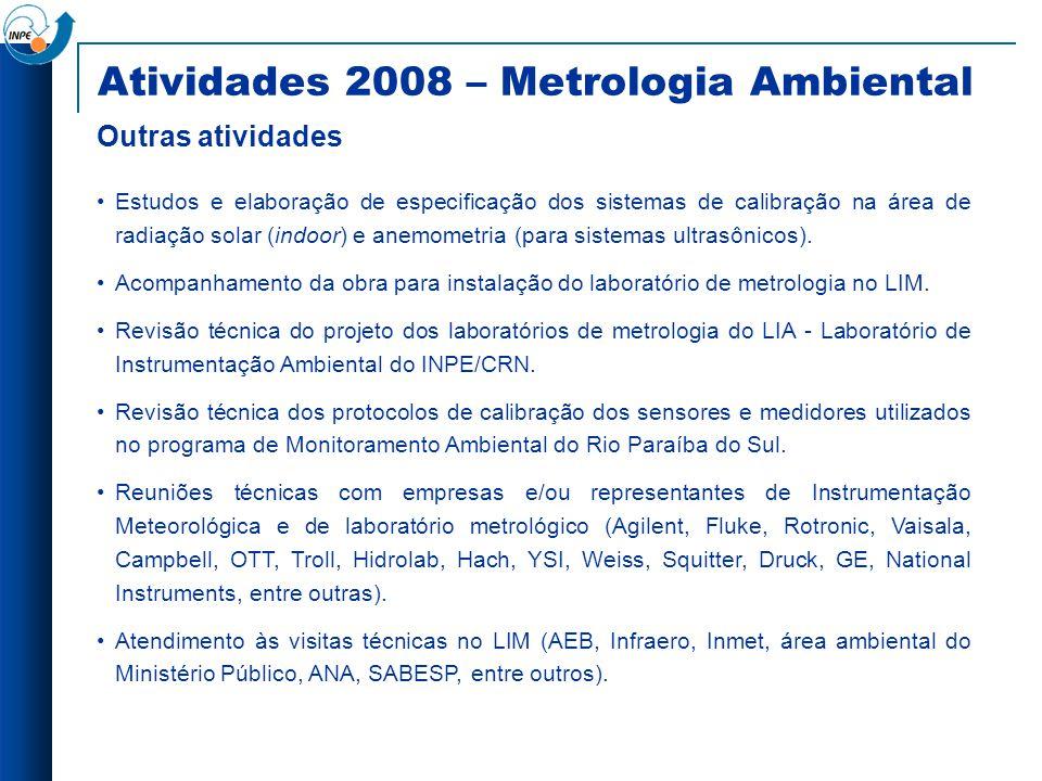 Estudos e elaboração de especificação dos sistemas de calibração na área de radiação solar (indoor) e anemometria (para sistemas ultrasônicos). Acompa
