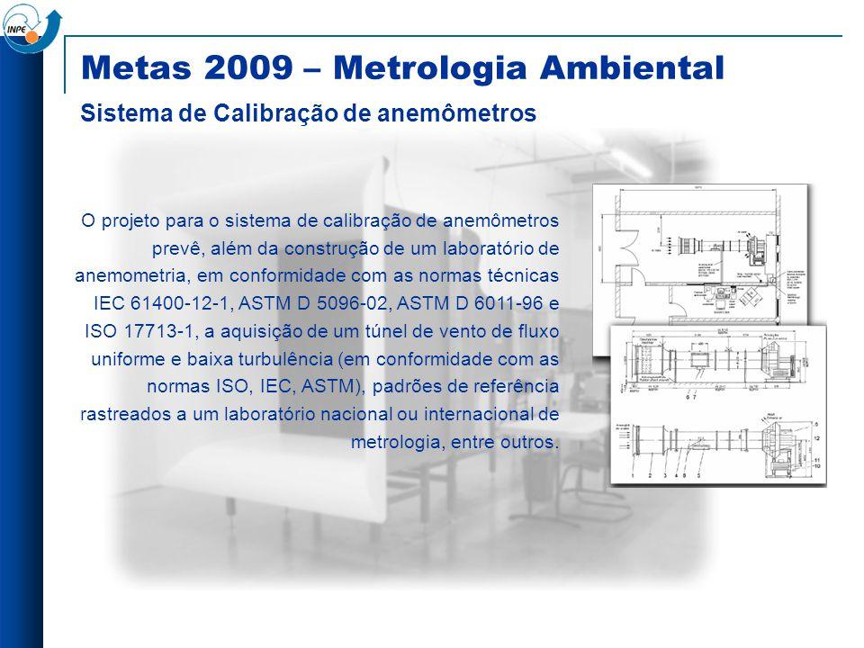 O projeto para o sistema de calibração de anemômetros prevê, além da construção de um laboratório de anemometria, em conformidade com as normas técnic