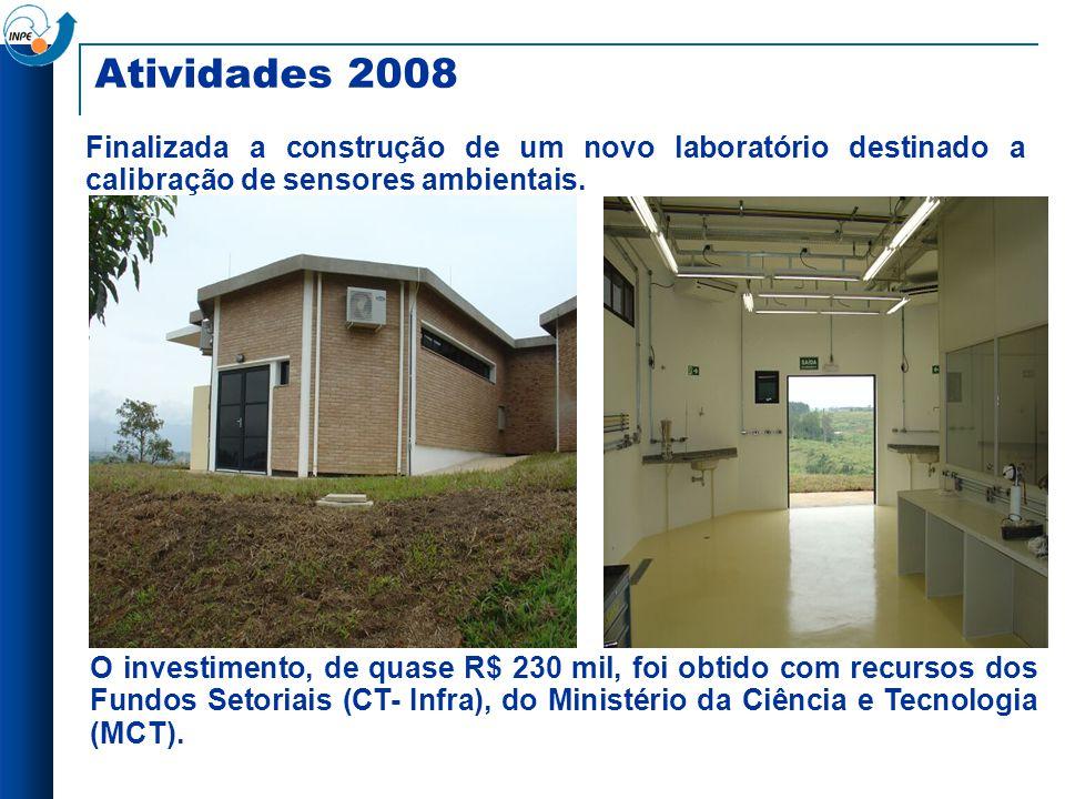 Atividades 2008 Finalizada a construção de um novo laboratório destinado a calibração de sensores ambientais. O investimento, de quase R$ 230 mil, foi
