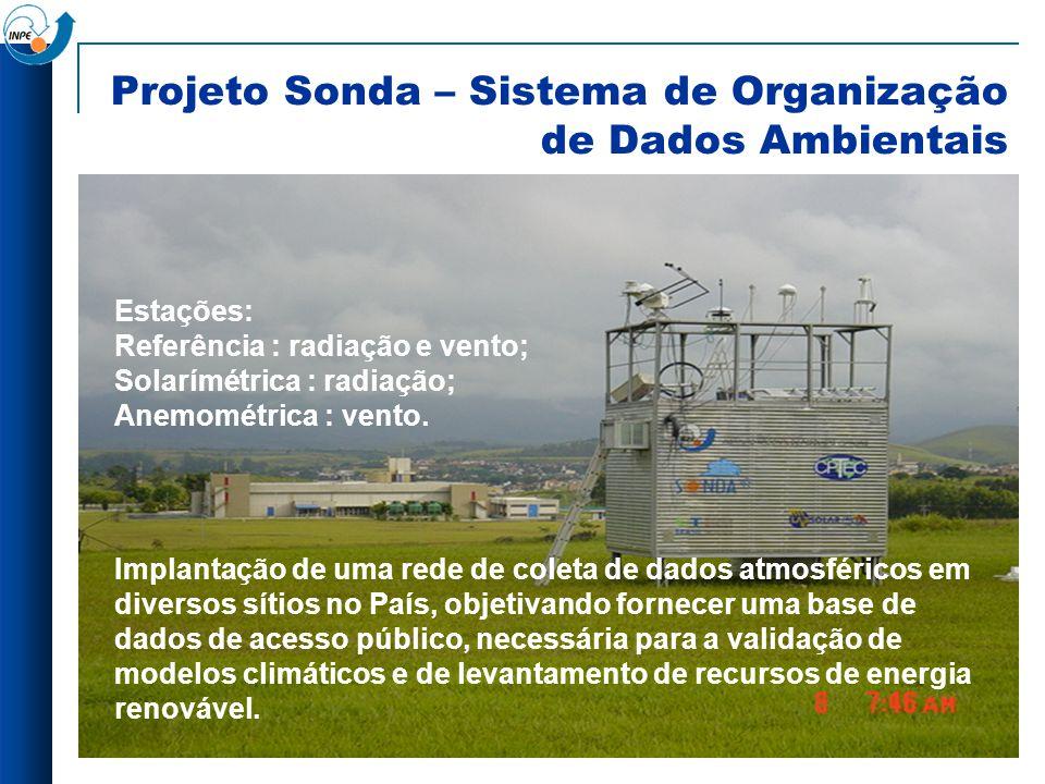 Projeto Sonda – Sistema de Organização de Dados Ambientais Estações: Referência : radiação e vento; Solarímétrica : radiação; Anemométrica : vento. Im