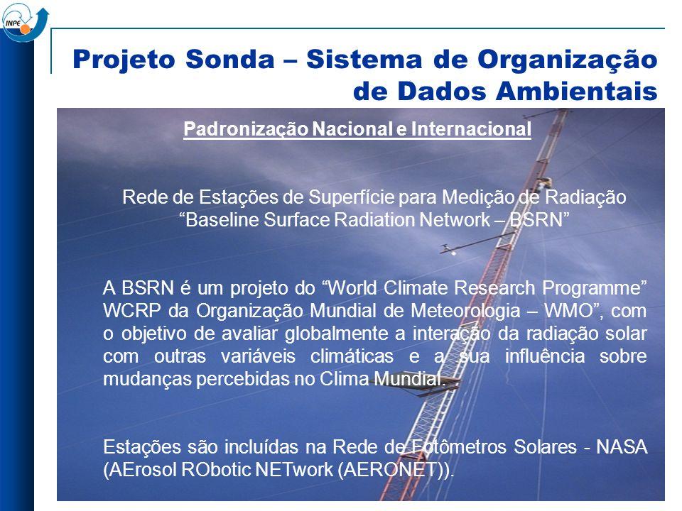 Projeto Sonda – Sistema de Organização de Dados Ambientais Padronização Nacional e Internacional Rede de Estações de Superfície para Medição de Radiaç