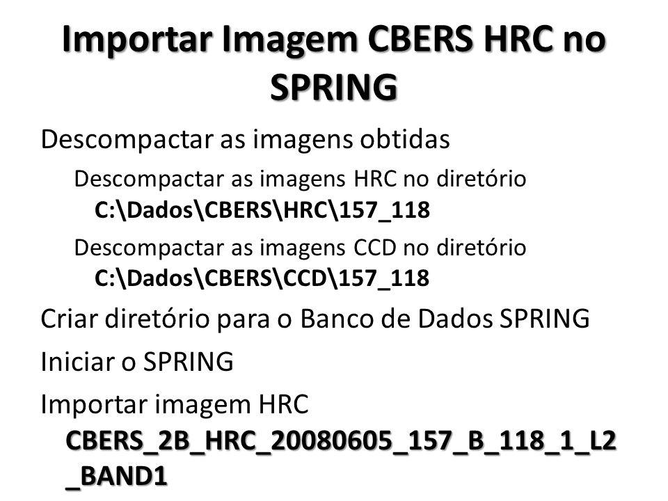 Importar Imagem CBERS HRC no SPRING Descompactar as imagens obtidas Descompactar as imagens HRC no diretório C:\Dados\CBERS\HRC\157_118 Descompactar a
