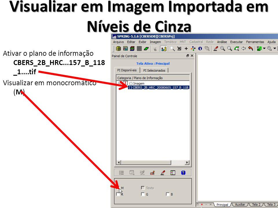 Visualizar em Imagem Importada em Níveis de Cinza Ativar o plano de informação CBERS_2B_HRC...157_B_118 _1....tif Visualizar em monocromático (M)