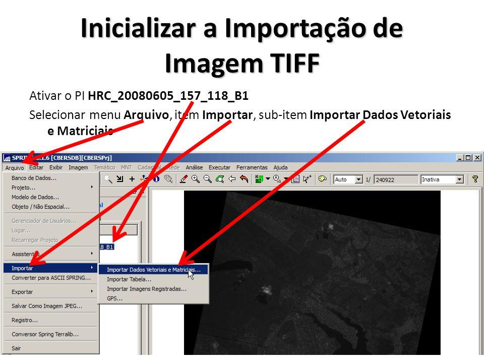 Inicializar a Importação de Imagem TIFF Ativar o PI HRC_20080605_157_118_B1 Selecionar menu Arquivo, item Importar, sub-item Importar Dados Vetoriais