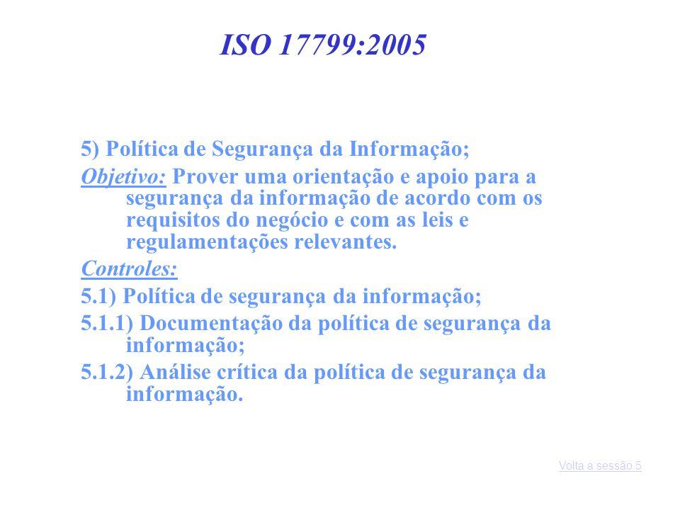 5) Política de Segurança da Informação; Objetivo: Prover uma orientação e apoio para a segurança da informação de acordo com os requisitos do negócio