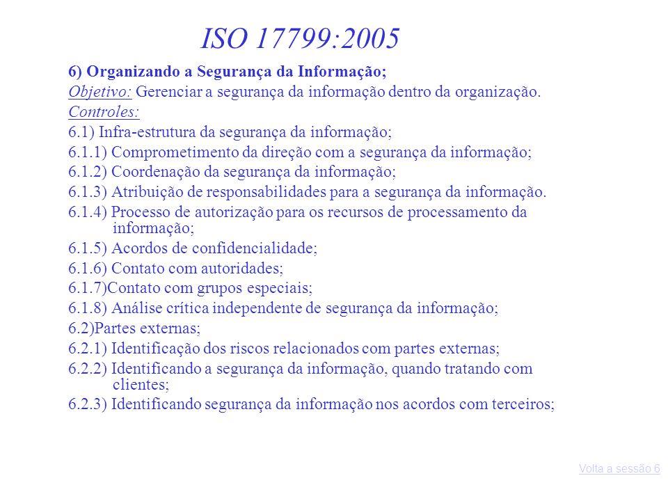 6) Organizando a Segurança da Informação; Objetivo: Gerenciar a segurança da informação dentro da organização. Controles: 6.1) Infra-estrutura da segu