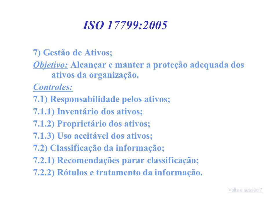 7) Gestão de Ativos; Objetivo: Alcançar e manter a proteção adequada dos ativos da organização. Controles: 7.1) Responsabilidade pelos ativos; 7.1.1)