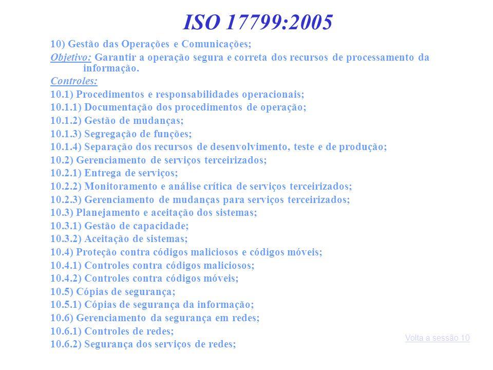 10) Gestão das Operações e Comunicações; Objetivo: Garantir a operação segura e correta dos recursos de processamento da informação. Controles: 10.1)