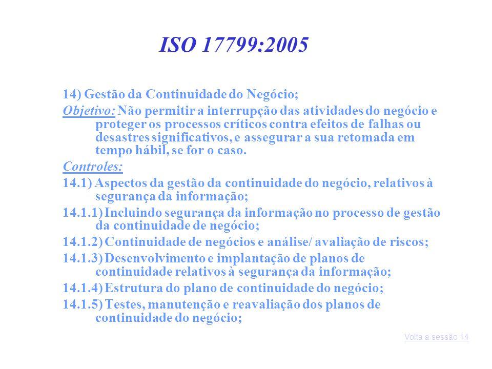 14) Gestão da Continuidade do Negócio; Objetivo: Não permitir a interrupção das atividades do negócio e proteger os processos críticos contra efeitos