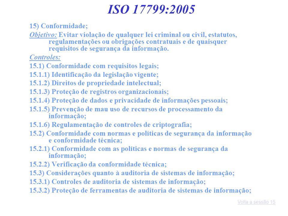 15) Conformidade; Objetivo: Evitar violação de qualquer lei criminal ou civil, estatutos, regulamentações ou obrigações contratuais e de quaisquer req