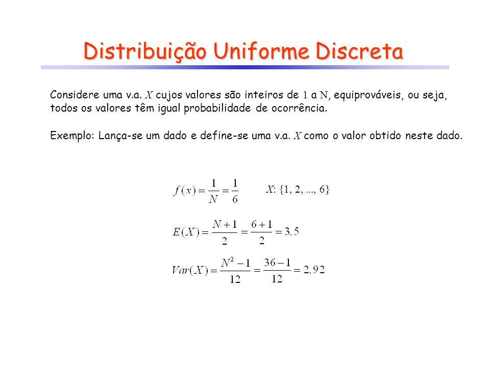 Distribuição Uniforme Discreta Exemplo: Lança-se um dado e define-se uma v.a. X como o valor obtido neste dado. X: {1, 2,..., N} X: {1, 2,..., 6} Cons