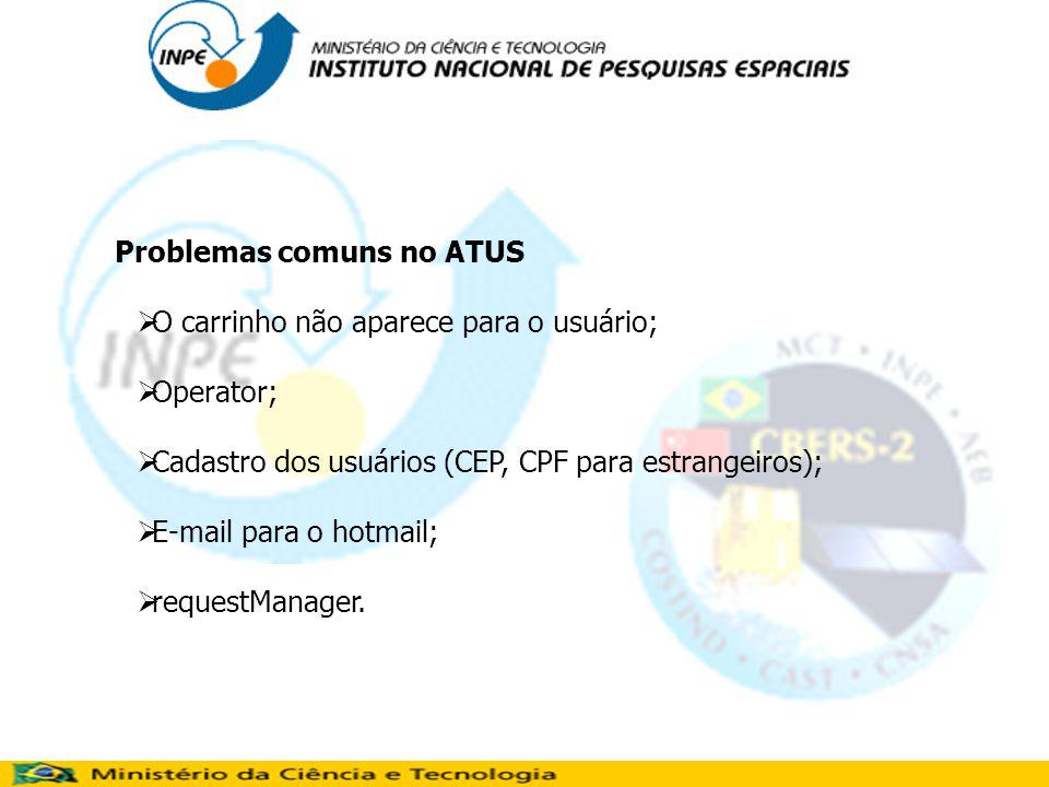 Problemas comuns no ATUS O carrinho não aparece para o usuário; Operator; Cadastro dos usuários (CEP, CPF para estrangeiros); E-mail para o hotmail; requestManager.