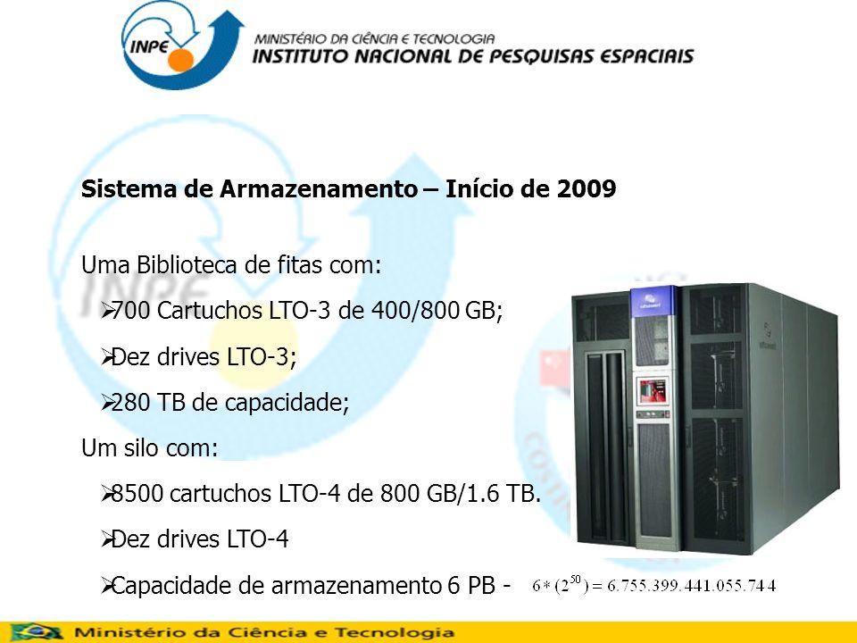 Sistema de Armazenamento – Início de 2009 Uma Biblioteca de fitas com: 700 Cartuchos LTO-3 de 400/800 GB; Dez drives LTO-3; 280 TB de capacidade; Um silo com: 8500 cartuchos LTO-4 de 800 GB/1.6 TB.