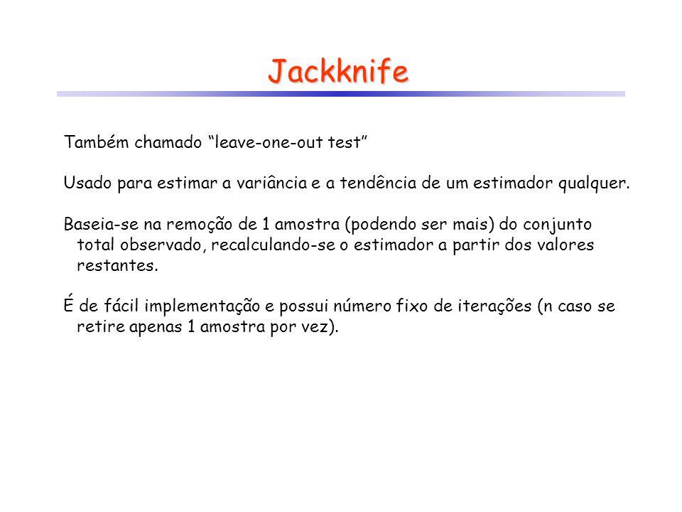 Jackknife População, reamostragem amostragem n vezes inferência estatísticas X 1, X 2,..., X n X 2, X 3,..., X n X 1, X 3,..., X n X 1, X 2,..., X n-1 estimado por