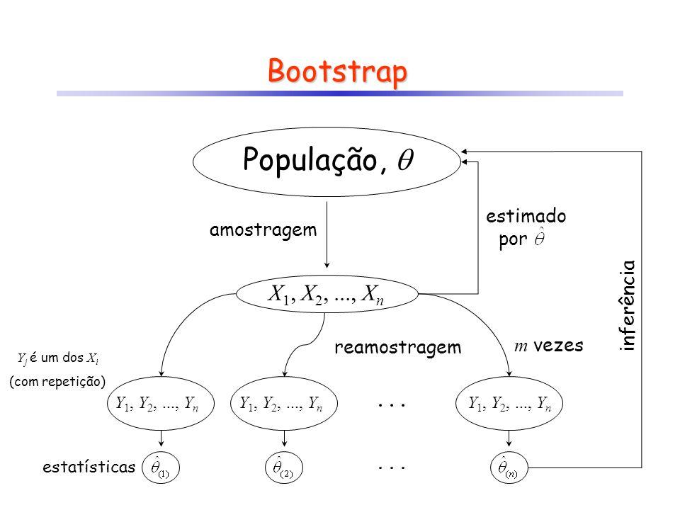 Bootstrap Suponha que um determinado parâmetro pode ser estimado a partir de uma amostra de n valores, ou seja, Então a cada iteração j o valor estimado a partir da amostra será: onde y i é um dos valores da amostra (com reposição) Com base nas estimativas de m iterações, pode-se calcular então: (ver exemplo BS em Reamostragem.xls)