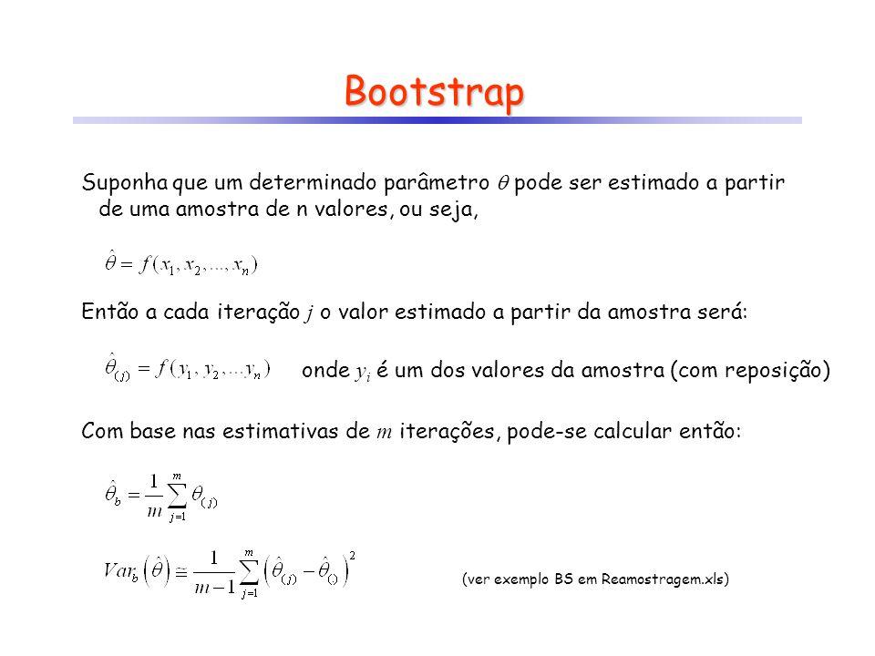 Bootstrap Suponha que um determinado parâmetro pode ser estimado a partir de uma amostra de n valores, ou seja, Então a cada iteração j o valor estima