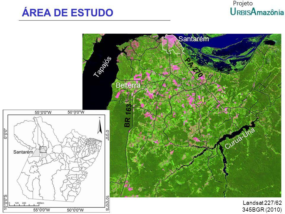 ÁREA DE ESTUDO Belterra Santarém Tapajós BR 163 Curuá-Una Landsat 227/62 345BGR (2010) PA 270