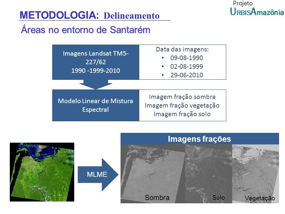 Áreas no entorno de Santarém Imagens Landsat TM5- 227/62 1990 -1999-2010 Data das imagens: 09-08-1990 02-08-1999 29-06-2010 Modelo Linear de Mistura E