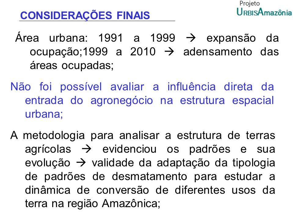 CONSIDERAÇÕES FINAIS Área urbana: 1991 a 1999 expansão da ocupação;1999 a 2010 adensamento das áreas ocupadas; Não foi possível avaliar a influência d