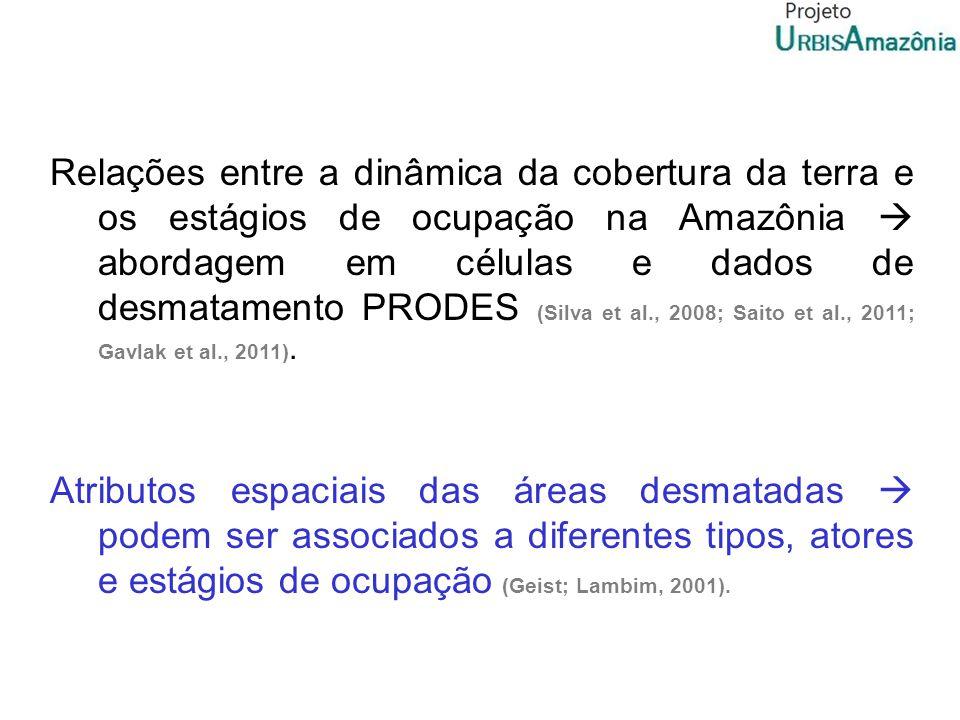 Relações entre a dinâmica da cobertura da terra e os estágios de ocupação na Amazônia abordagem em células e dados de desmatamento PRODES (Silva et al