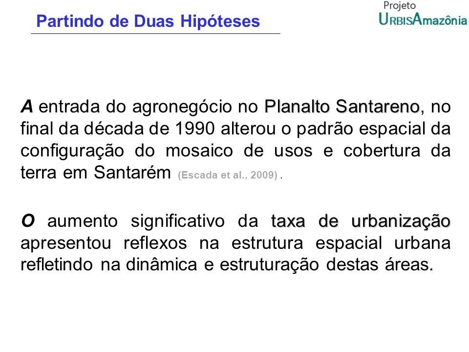 Partindo de Duas Hipóteses Planalto Santareno A entrada do agronegócio no Planalto Santareno, no final da década de 1990 alterou o padrão espacial da
