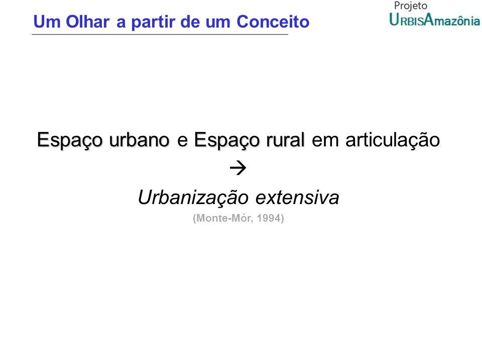 Um Olhar a partir de um Conceito Espaço urbanoEspaço rural Espaço urbano e Espaço rural em articulação Urbanização extensiva (Monte-Mór, 1994)