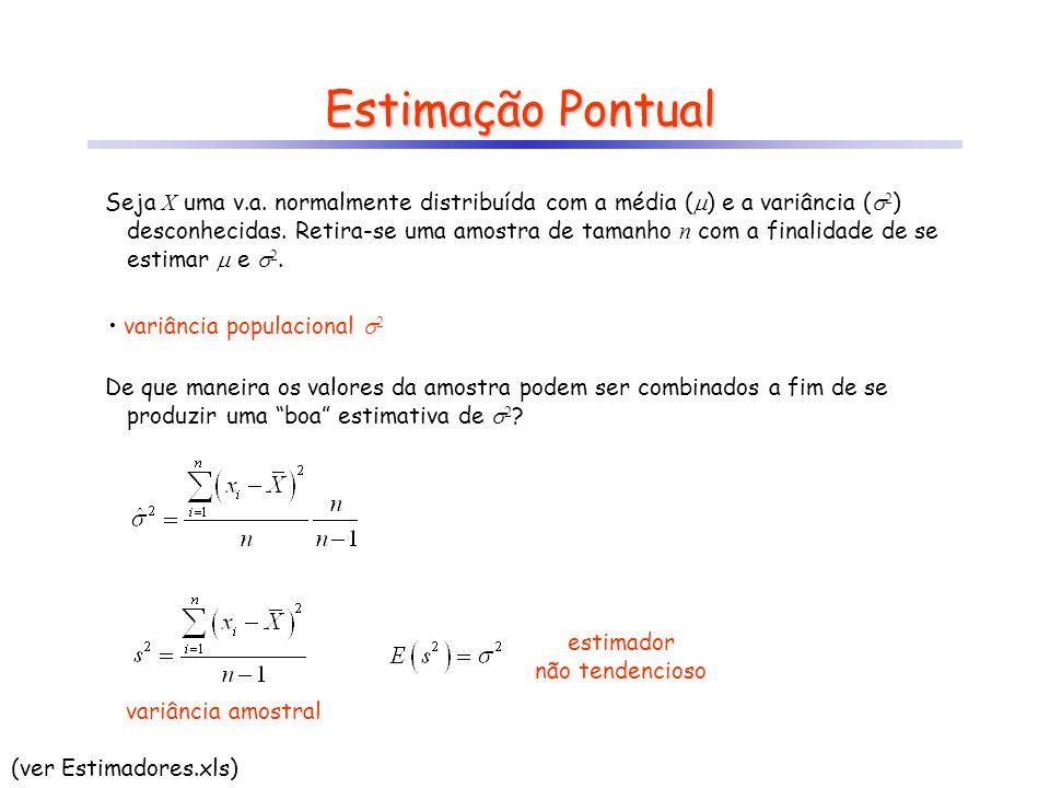 Estimação Pontual Seja X uma v.a. normalmente distribuída com a média ( ) e a variância ( 2 ) desconhecidas. Retira-se uma amostra de tamanho n com a