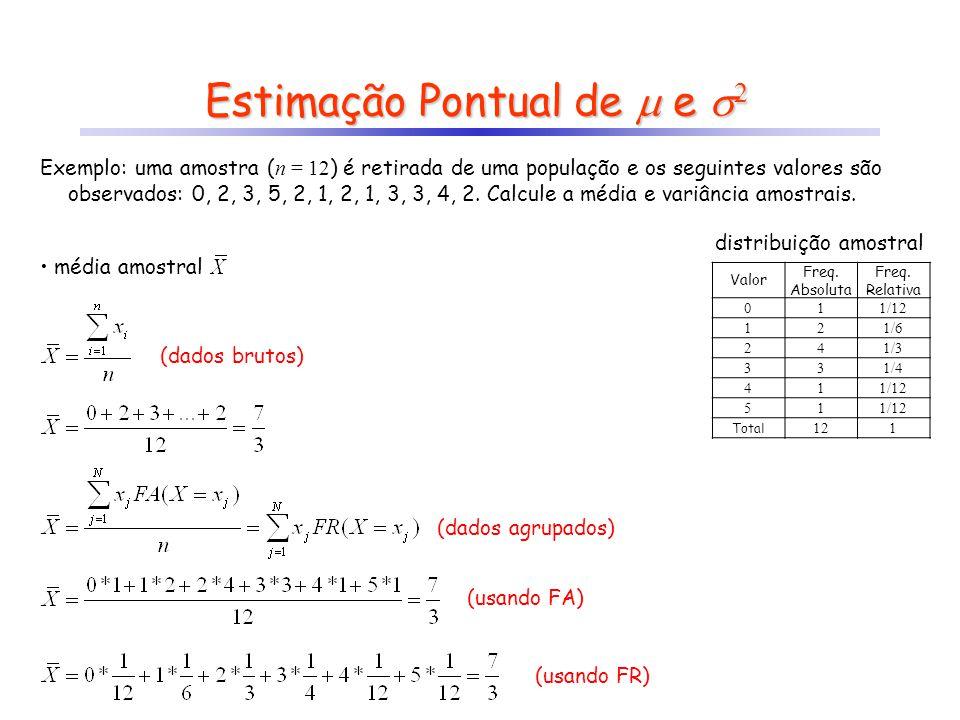 Estimação Pontual de e 2 média amostral Valor Freq. Absoluta Freq. Relativa 011/12 121/6 241/3 331/4 411/12 51 Total 121 Exemplo: uma amostra ( n = 12
