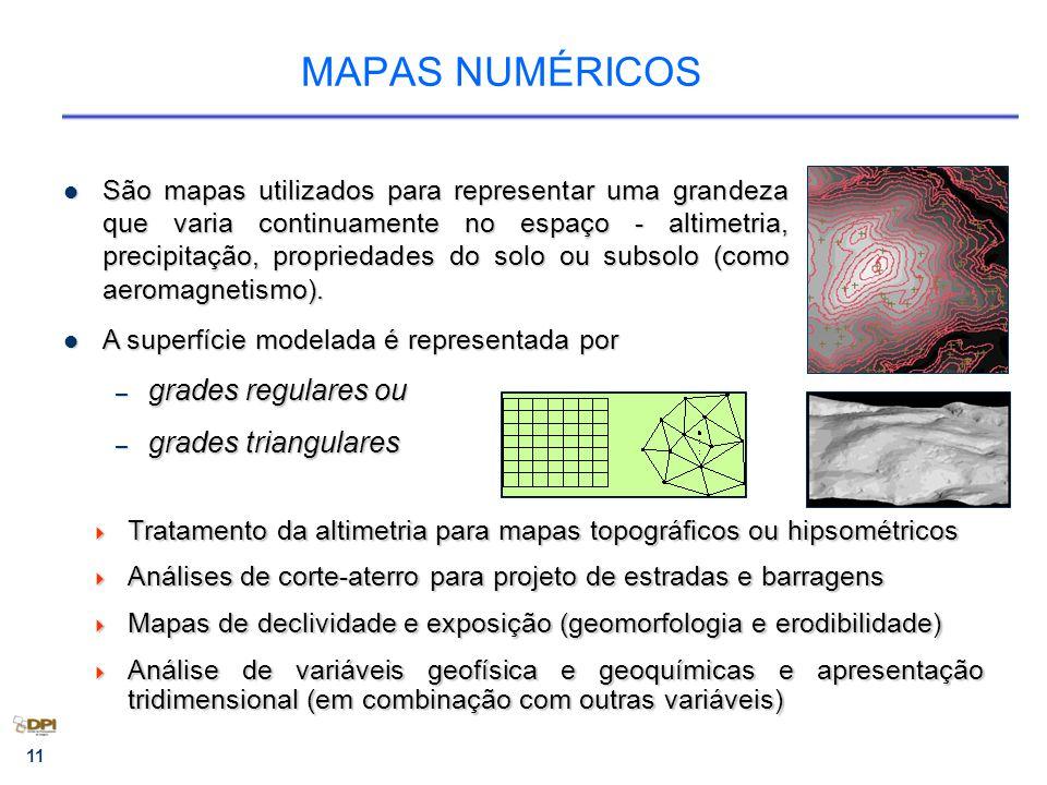 11 São mapas utilizados para representar uma grandeza que varia continuamente no espaço - altimetria, precipitação, propriedades do solo ou subsolo (como aeromagnetismo).