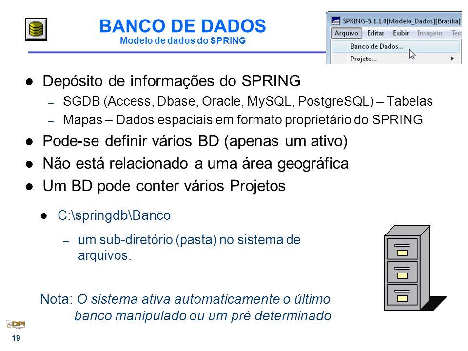 19 BANCO DE DADOS Modelo de dados do SPRING Depósito de informações do SPRING – SGDB (Access, Dbase, Oracle, MySQL, PostgreSQL) – Tabelas – Mapas – Dados espaciais em formato proprietário do SPRING Pode-se definir vários BD (apenas um ativo) Não está relacionado a uma área geográfica Um BD pode conter vários Projetos C:\springdb\Banco – um sub-diretório (pasta) no sistema de arquivos.