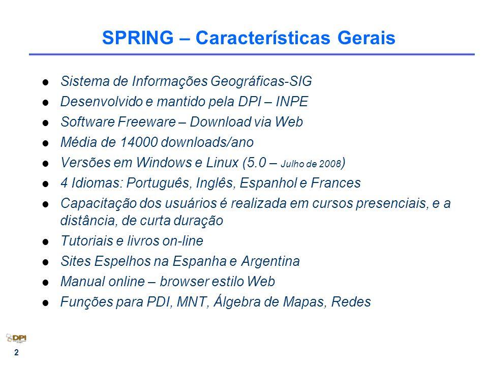 2 SPRING – Características Gerais Sistema de Informações Geográficas-SIG Desenvolvido e mantido pela DPI – INPE Software Freeware – Download via Web M
