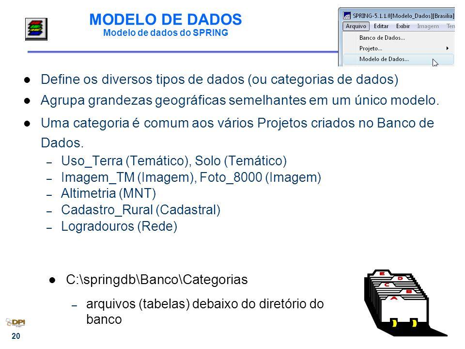 20 MODELO DE DADOS Modelo de dados do SPRING Define os diversos tipos de dados (ou categorias de dados) Agrupa grandezas geográficas semelhantes em um