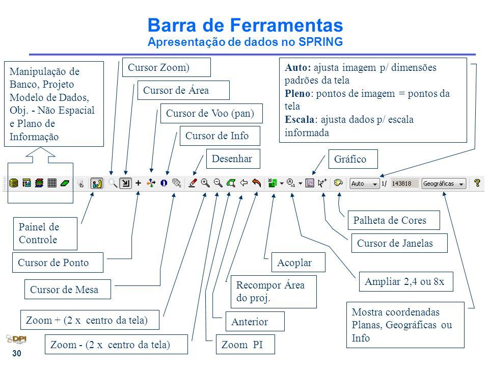 30 Barra de Ferramentas Apresentação de dados no SPRING Cursor Zoom) Cursor de Voo (pan) Desenhar Zoom + (2 x centro da tela) Zoom - (2 x centro da tela) Auto: ajusta imagem p/ dimensões padrões da tela Pleno: pontos de imagem = pontos da tela Escala: ajusta dados p/ escala informada Painel de Controle Manipulação de Banco, Projeto Modelo de Dados, Obj.