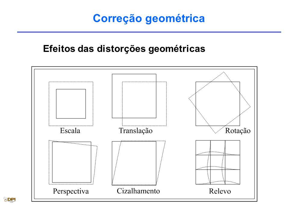 Correção geométrica Efeitos das distorções geométricas