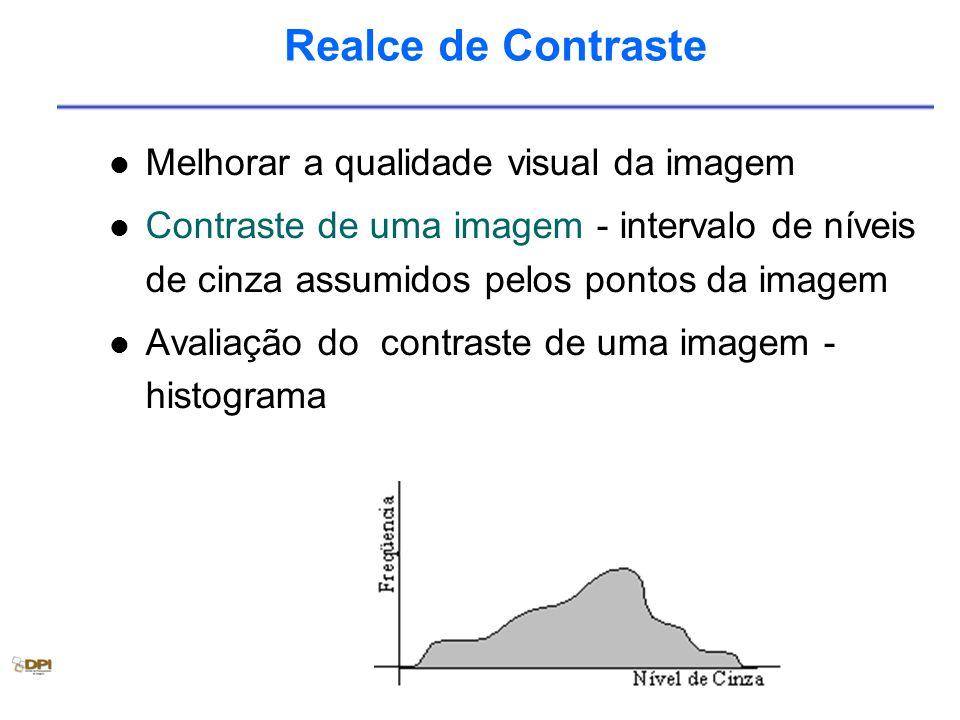 Realce de Contraste Melhorar a qualidade visual da imagem Contraste de uma imagem - intervalo de níveis de cinza assumidos pelos pontos da imagem Avaliação do contraste de uma imagem - histograma