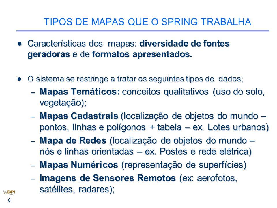 6 TIPOS DE MAPAS QUE O SPRING TRABALHA Características dos mapas: diversidade de fontes geradoras e de formatos apresentados.