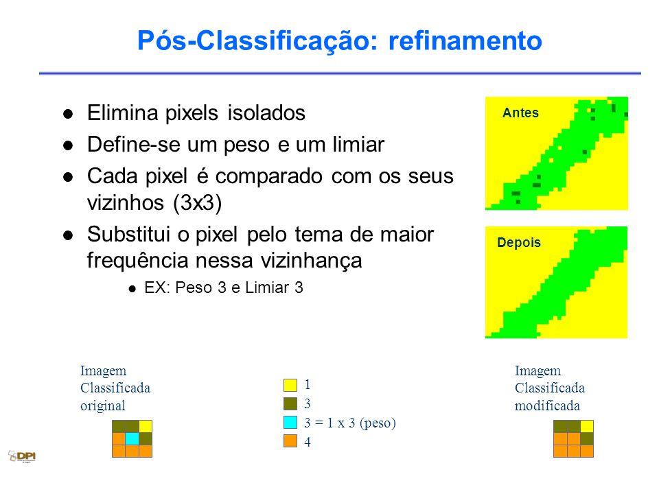 Pós-Classificação: refinamento Elimina pixels isolados Define-se um peso e um limiar Cada pixel é comparado com os seus vizinhos (3x3) Substitui o pixel pelo tema de maior frequência nessa vizinhança EX: Peso 3 e Limiar 3 Imagem Classificada original 1 3 3 = 1 x 3 (peso) 4 Imagem Classificada modificada Antes Depois