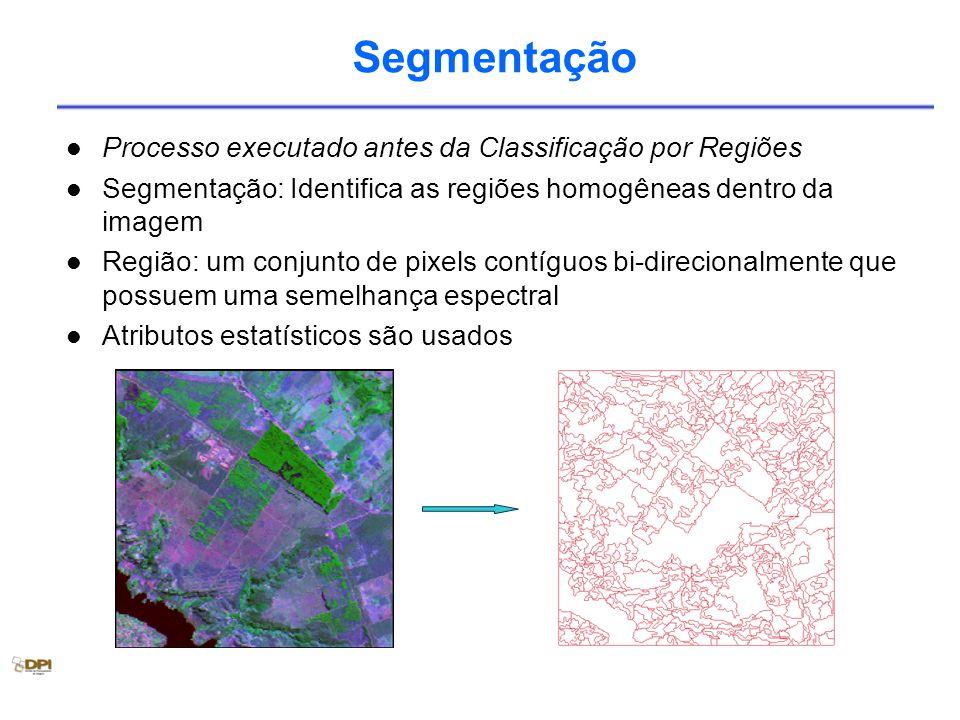 Segmentação Processo executado antes da Classificação por Regiões Segmentação: Identifica as regiões homogêneas dentro da imagem Região: um conjunto de pixels contíguos bi-direcionalmente que possuem uma semelhança espectral Atributos estatísticos são usados