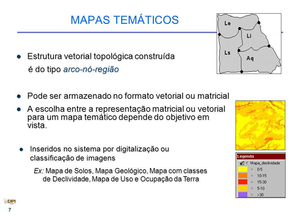 7 MAPAS TEMÁTICOS Estrutura vetorial topológica construída Estrutura vetorial topológica construída é do tipo arco-nó-região é do tipo arco-nó-região Pode ser armazenado no formato vetorial ou matricial Pode ser armazenado no formato vetorial ou matricial A escolha entre a representação matricial ou vetorial para um mapa temático depende do objetivo em vista.