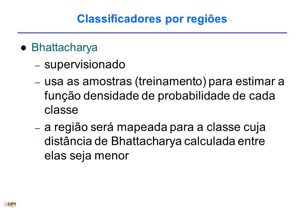 Bhattacharya – supervisionado – usa as amostras (treinamento) para estimar a função densidade de probabilidade de cada classe – a região será mapeada