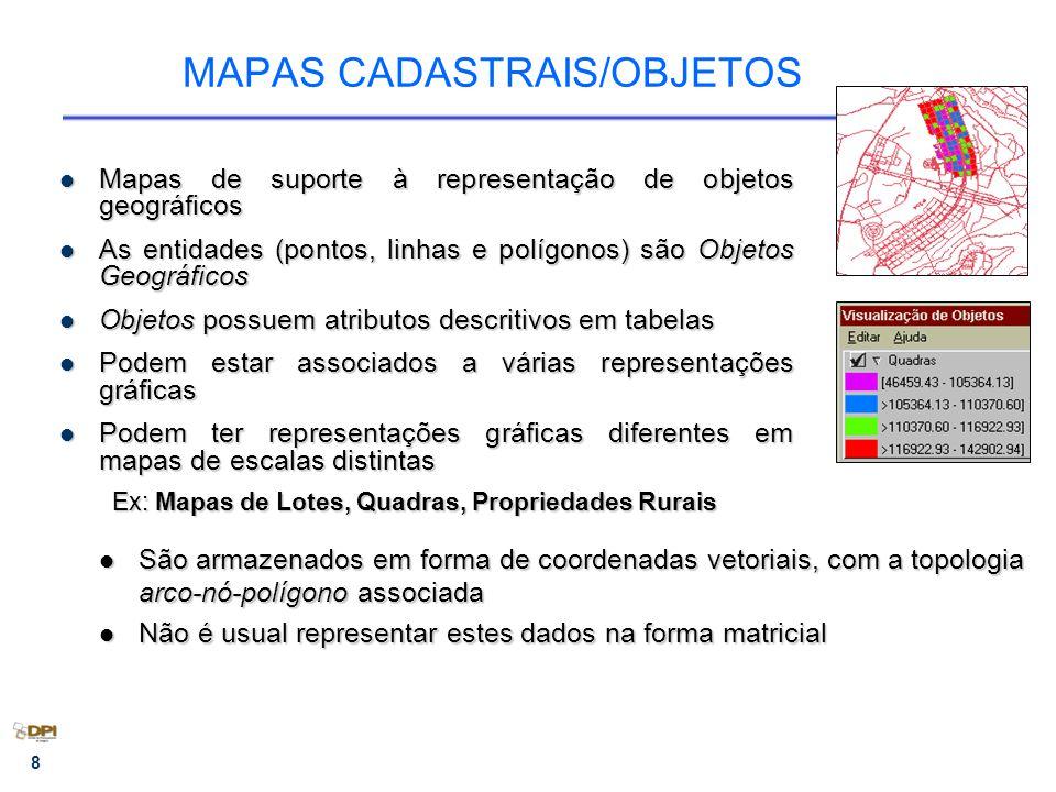 8 MAPAS CADASTRAIS/OBJETOS Mapas de suporte à representação de objetos geográficos Mapas de suporte à representação de objetos geográficos As entidades (pontos, linhas e polígonos) são Objetos Geográficos As entidades (pontos, linhas e polígonos) são Objetos Geográficos Objetos possuem atributos descritivos em tabelas Objetos possuem atributos descritivos em tabelas Podem estar associados a várias representações gráficas Podem estar associados a várias representações gráficas Podem ter representações gráficas diferentes em mapas de escalas distintas Podem ter representações gráficas diferentes em mapas de escalas distintas Ex: Mapas de Lotes, Quadras, Propriedades Rurais São armazenados em forma de coordenadas vetoriais, com a topologia arco-nó-polígono associada São armazenados em forma de coordenadas vetoriais, com a topologia arco-nó-polígono associada Não é usual representar estes dados na forma matricial Não é usual representar estes dados na forma matricial
