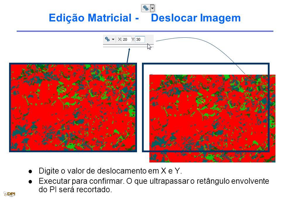 Edição Matricial - Deslocar Imagem Digite o valor de deslocamento em X e Y. Executar para confirmar. O que ultrapassar o retângulo envolvente do PI se