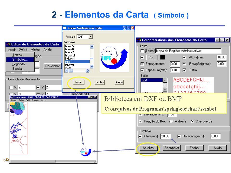 2 - Elementos da Carta ( Símbolo ) Biblioteca em DXF ou BMP C:\Arquivos de Programas\spring\etc\chart\symbol