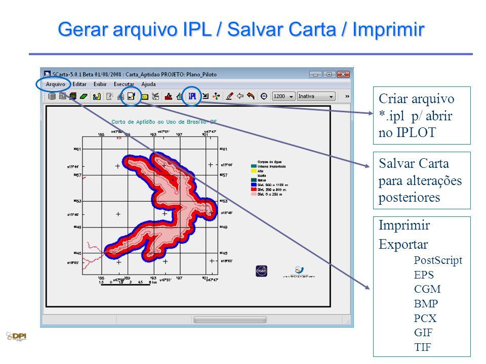 Gerar arquivo IPL / Salvar Carta / Imprimir Criar arquivo *.ipl p/ abrir no IPLOT Salvar Carta para alterações posteriores Imprimir Exportar PostScrip